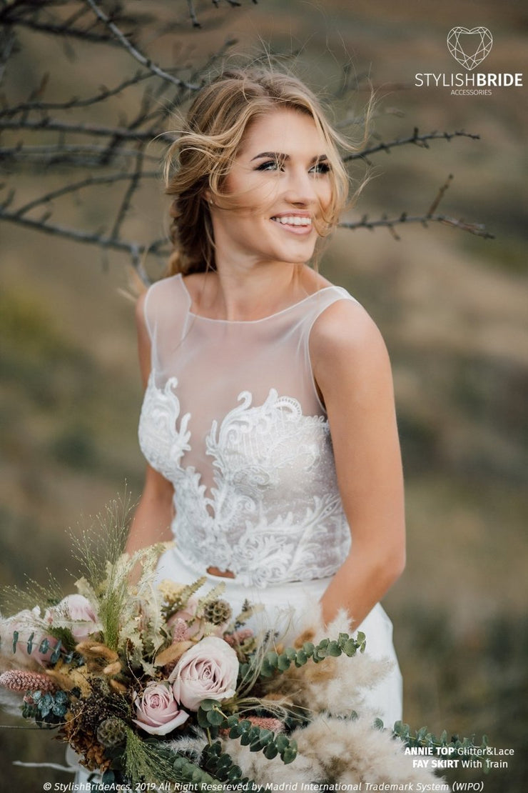 Annie | Sleeveless Glitter Boho Wedding Dress - StylishBrideAccs
