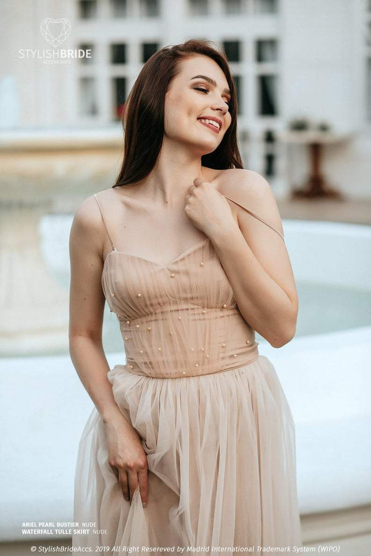 Ariel | Nude Engagement Tulle Bustier - StylishBrideAccs