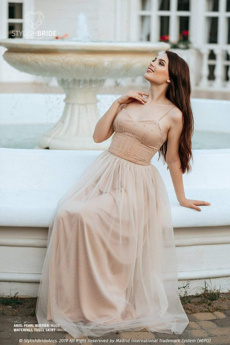 Ariel | Prom Nude Tulle Bustier and Waterfall Skirt - StylishBrideAccs