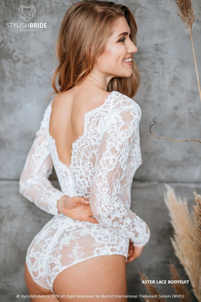 Aster Boho Lace Backless Bridal Bodysuit - StylishBrideAccs