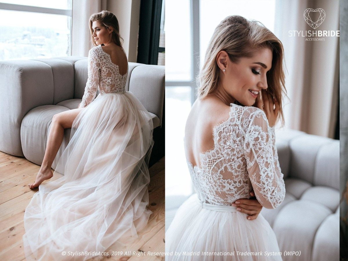 Aster Two Piece Wedding Tulle Dress with Lace Bodysuit ...
