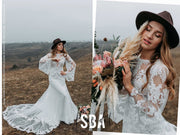Aurora | Macrame Boho Dress Bell Sleeve - StylishBrideAccs