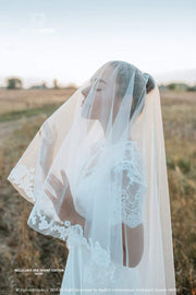 Belle | 2-Tiers Wedding Veil with Lace Pattern - StylishBrideAccs