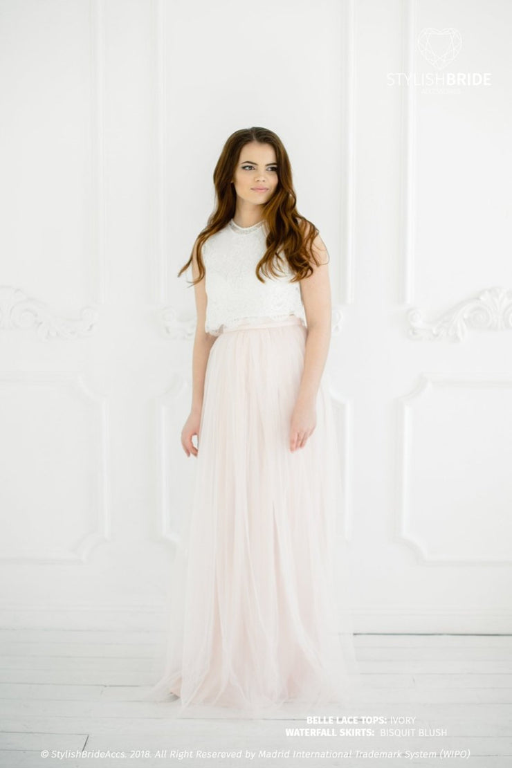 Belle | Biscuit Blush Prom Top & Waterfall Skirt - StylishBrideAccs