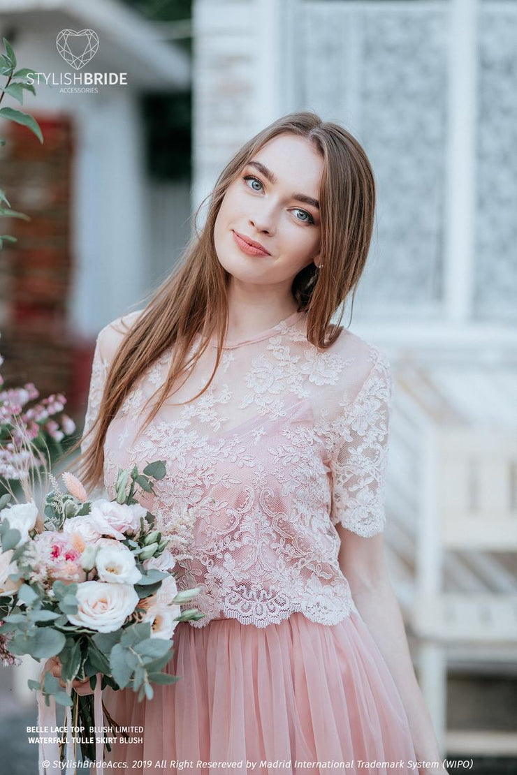 Belle | Blush Lace Engagement Top Buttoned back - StylishBrideAccs