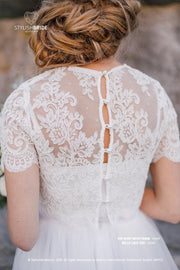 Belle Buttoned back Wedding or Engagement Lace Crop Top - White or Ivory Lace Crop Tops plus size - StylishBrideAccs