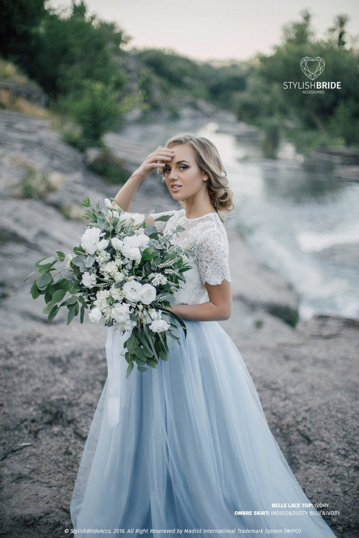 Belle | Disney Wedding Top & Dusty Blue Skirt - StylishBrideAccs