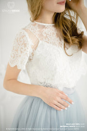 Belle | Dusty Blue Bridesmaids Top & Waterfall Skirt - StylishBrideAccs