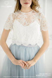 Belle | Dusty Blue Prom Top & Waterfall Skirt - StylishBrideAccs