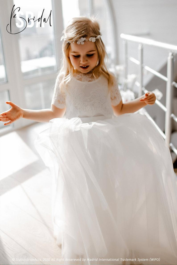 Belle | Flower Girl Lace Top with Buttoned Back - StylishBrideAccs