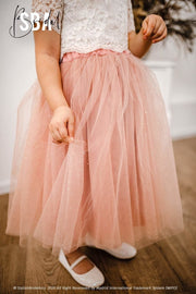 Belle | Flower Girl Top & Mist Glitter Tulle Skirt - StylishBrideAccs