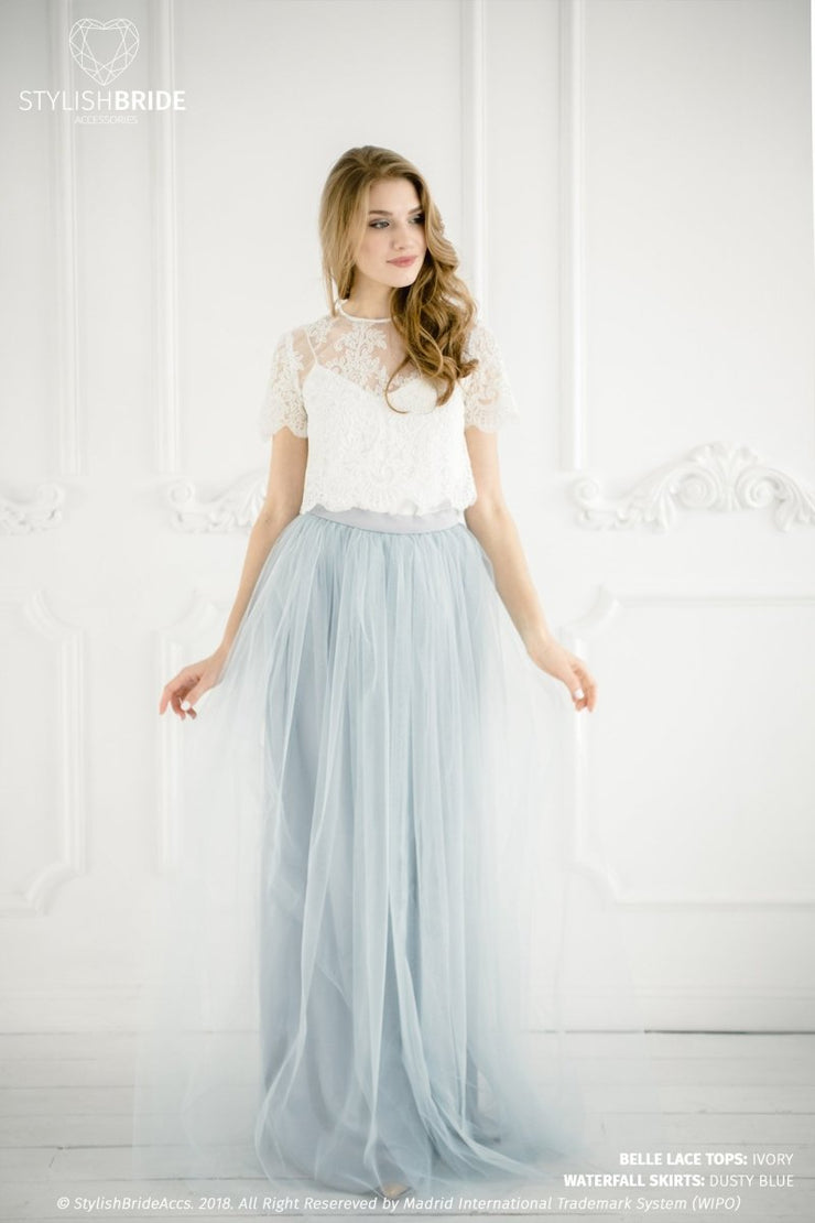 Belle | Lace Bridesmaids Top & Waterfall Skirt - StylishBrideAccs