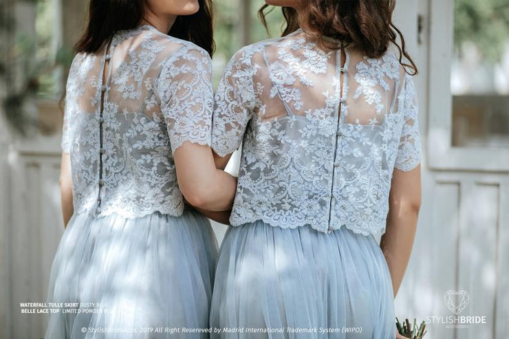 Belle | Powder Blue Bridesmaids Lace Top - StylishBrideAccs