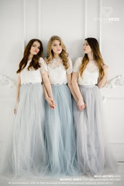 Belle | Prom Top & Waterfall Grey/Blue Skirt - StylishBrideAccs