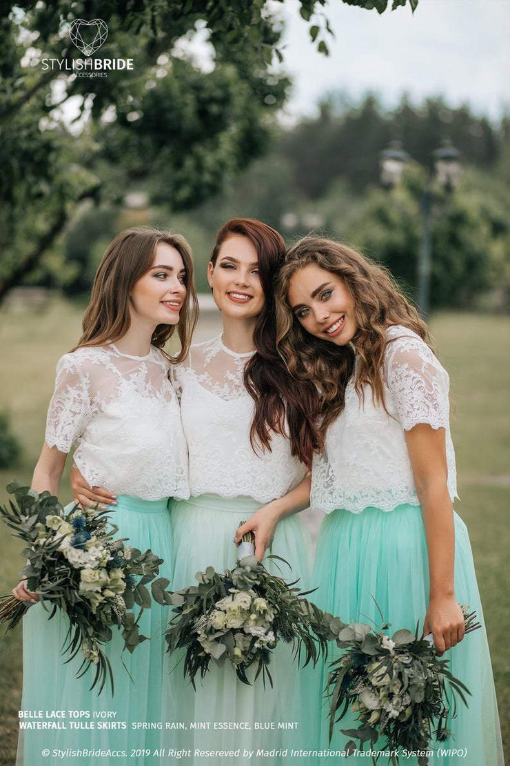 Belle | Prom Top & Waterfall Mint Skirt - StylishBrideAccs