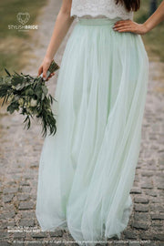 Belle | Prom Top & Waterfall Pistachio Skirt - StylishBrideAccs