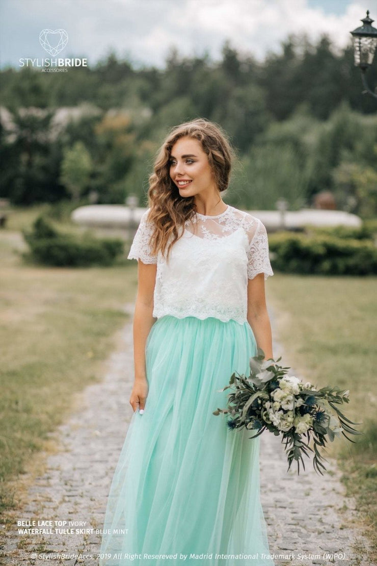 Belle | Prom Top & Waterfall Rustic Mint Skirt - StylishBrideAccs