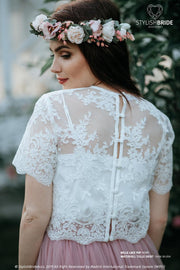 Belle | Wedding Lace Crop Top Buttoned back - StylishBrideAccs