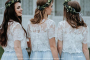 Belle | White or Ivory Bridesmaids Lace Top - StylishBrideAccs