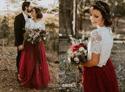 Belle Wine Dress Tulle Set - Lace Crop Top with Sleeves and Tulle skirt long - Bridesmaids Dress with Tulle Dark Red Burgundy Skirt - StylishBrideAccs