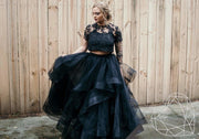 Black Gothic Engagement Dress - Swan Wedding Tulle Separates - StylishBrideAccs