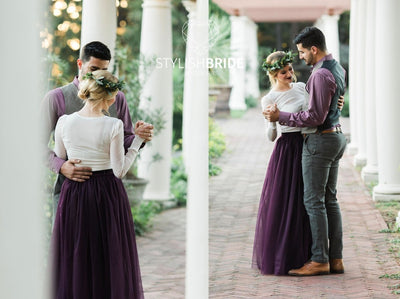 Blackberry Bridal or Wedding Tulle Skirt Long - Purple Engagement or Bridesmaids Floor Length Dress - StylishBrideAccs