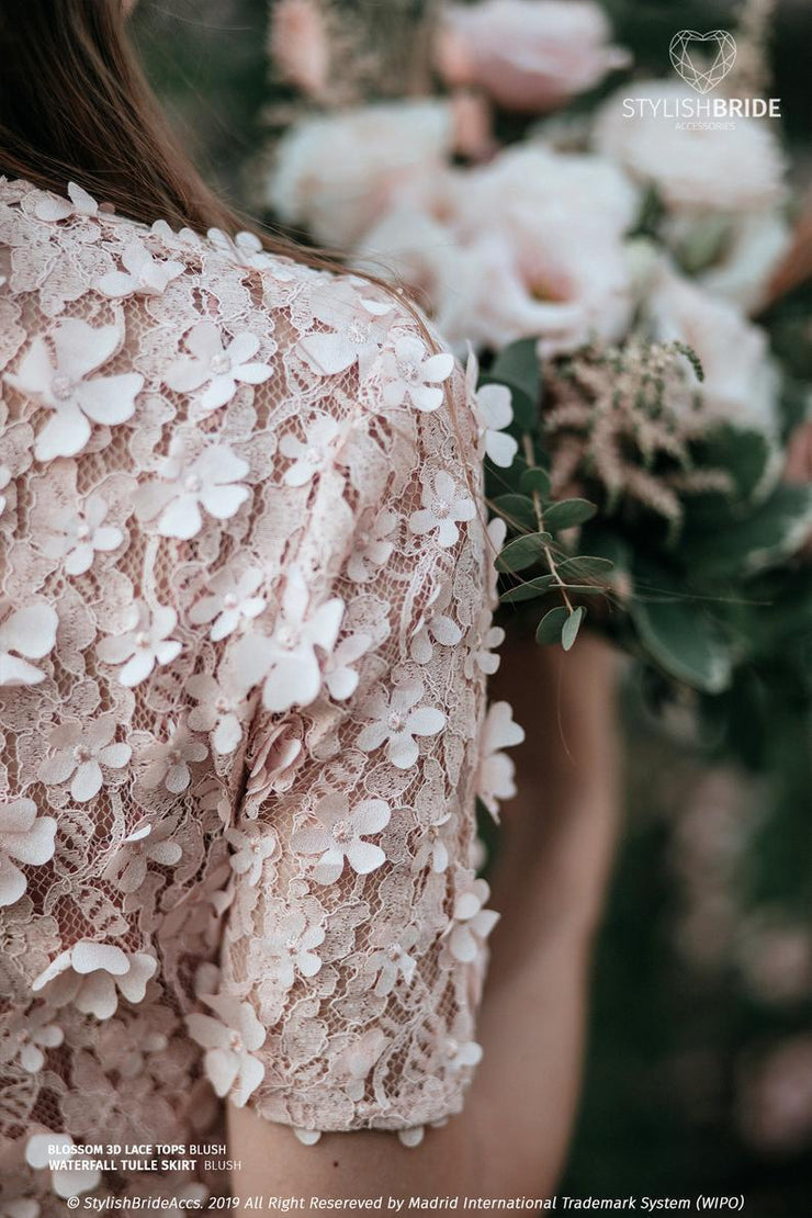 Blossom | Blush 3D Prom Top & Silk Under top - StylishBrideAccs