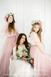 Blossom | Blush Pink Bridesmaids Lace Top - StylishBrideAccs