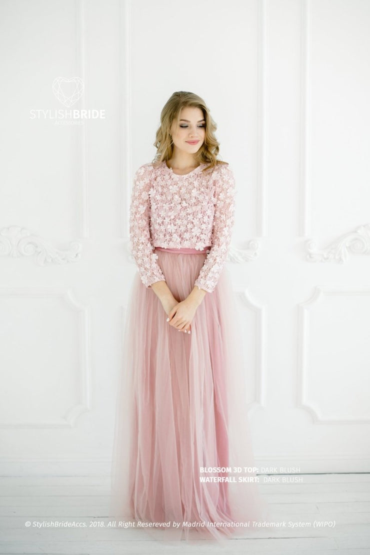 Blossom | Dark Blush Party Top & Waterfall Skirt - StylishBrideAccs