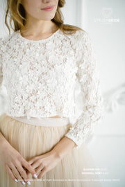 Blossom | Ivory Bridesmaids 3D Lace Top - StylishBrideAccs