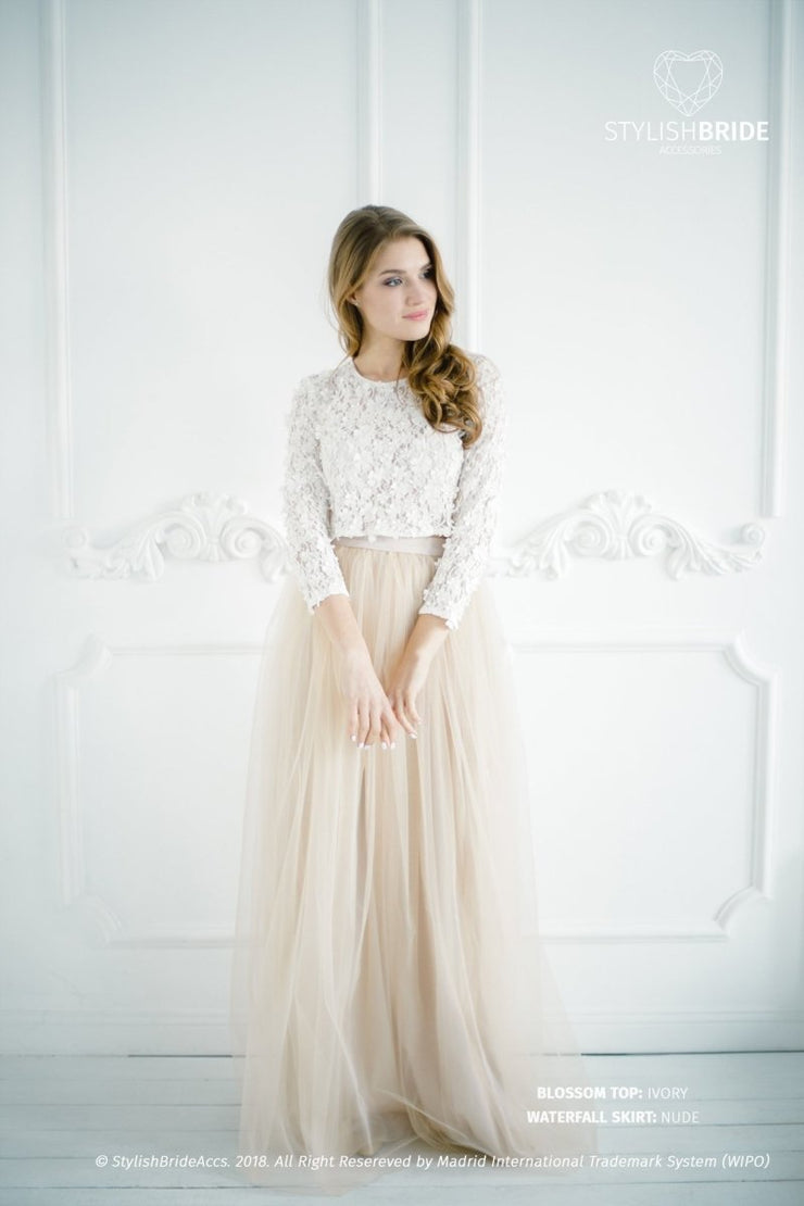 Blossom | Nude Engagement Top & Waterfall Skirt - StylishBrideAccs