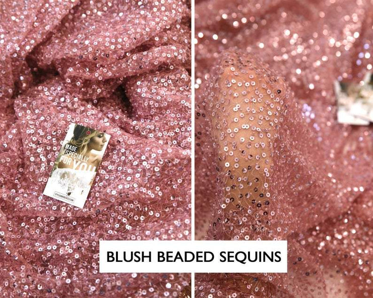 Blush Pink Embroidered Sequin Fabric - StylishBrideAccs