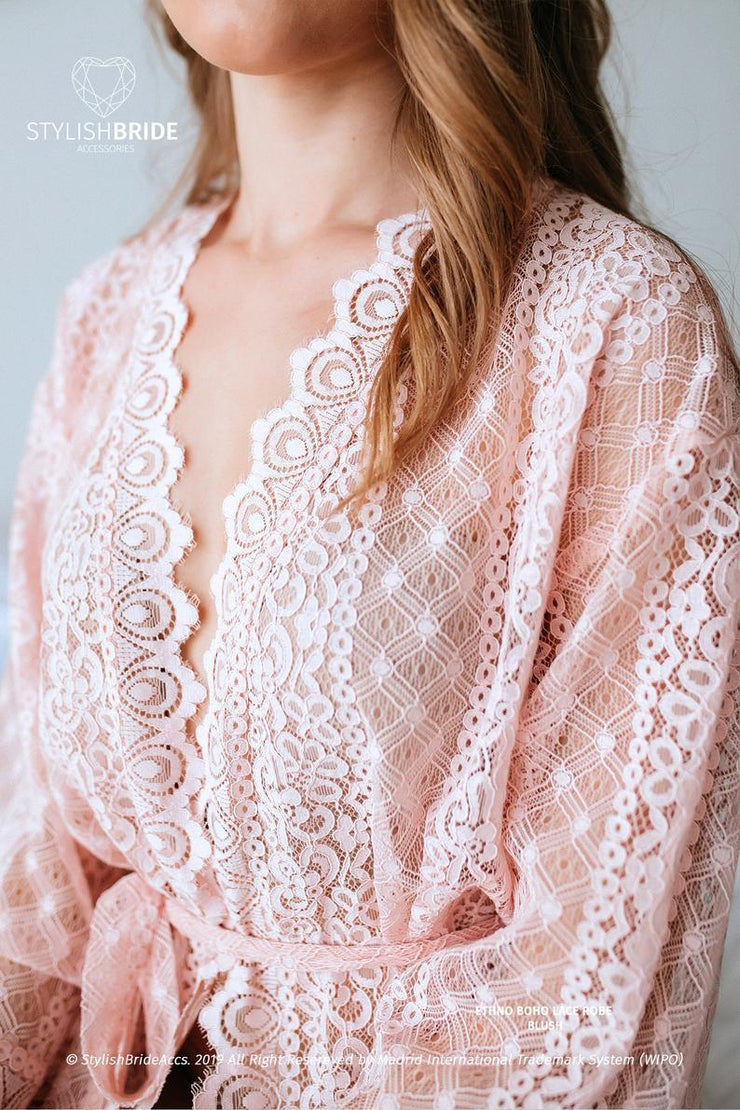 Blush Pink Ethno Boho Pre Wedding Lace Robe - StylishBrideAccs