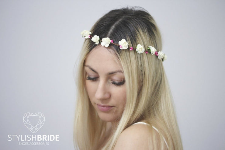 Boho Pink White Wedding Wreath With Paper White Flowers, Flower Wedding Hair Vine, Flower Pink Hairpiece, White Flowers Headband - StylishBrideAccs