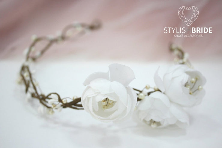 Boho wedding wreath, white flower hair vine, flower white wreath, wreath headband, flower white headpiece, Flowergirl white bridesmaides - StylishBrideAccs