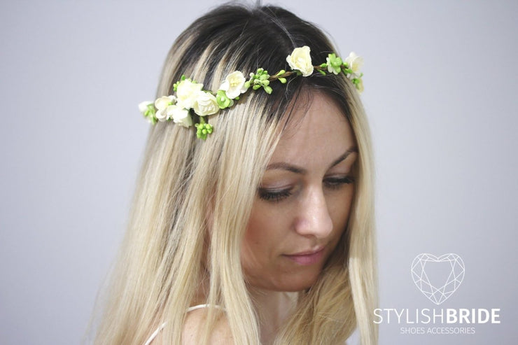 Boho Wedding Wreath With Green and White Paper Flowers, Flower Wedding Hair Vine, Flower Bridal Wreath, Wedding Headband Flower Hairpiece - StylishBrideAccs