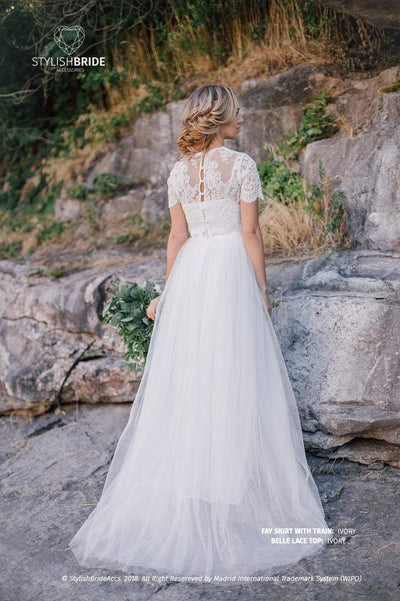 Bridal Belle Lace Dress with Long White or Ivory Fay Wedding Skirt - Engagement / Prom Dresses Plus Size Bridal Separates - StylishBrideAccs