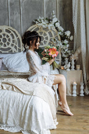 Bridal Chantilly Lace Robe with Lace Sleeve - StylishBrideAccs