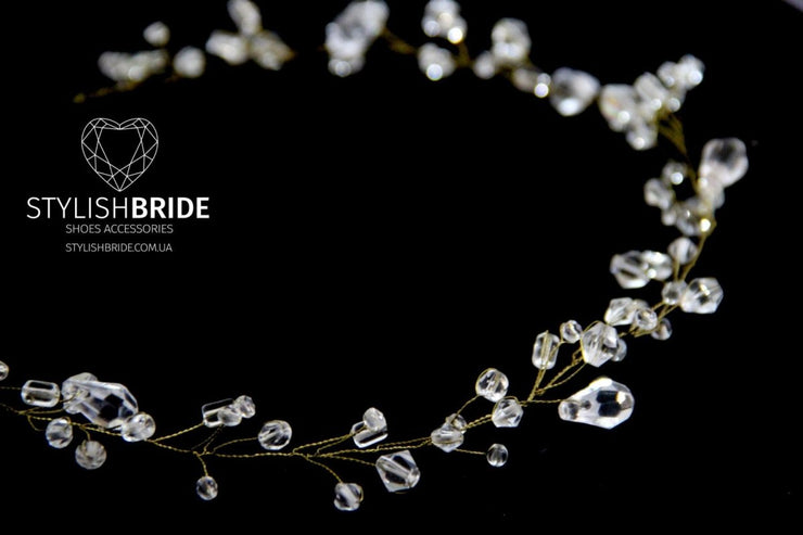 Bridal Crystal Hair Vine, Shiny Hair Vine Gold Silver, Crystal Shiny Hair Accessories, Crystal Vine, Bridal Hairpiece, Bridal Hair Vine - StylishBrideAccs