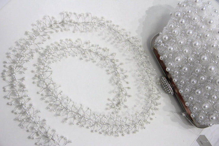 Bridal Extra Long Hair Pearl Vine 0.6-1.5 meters, Wedding Pearl Hair Vine, Pearl Hair Accessories, Pearl Vine, Bridal Hairpiece - StylishBrideAccs