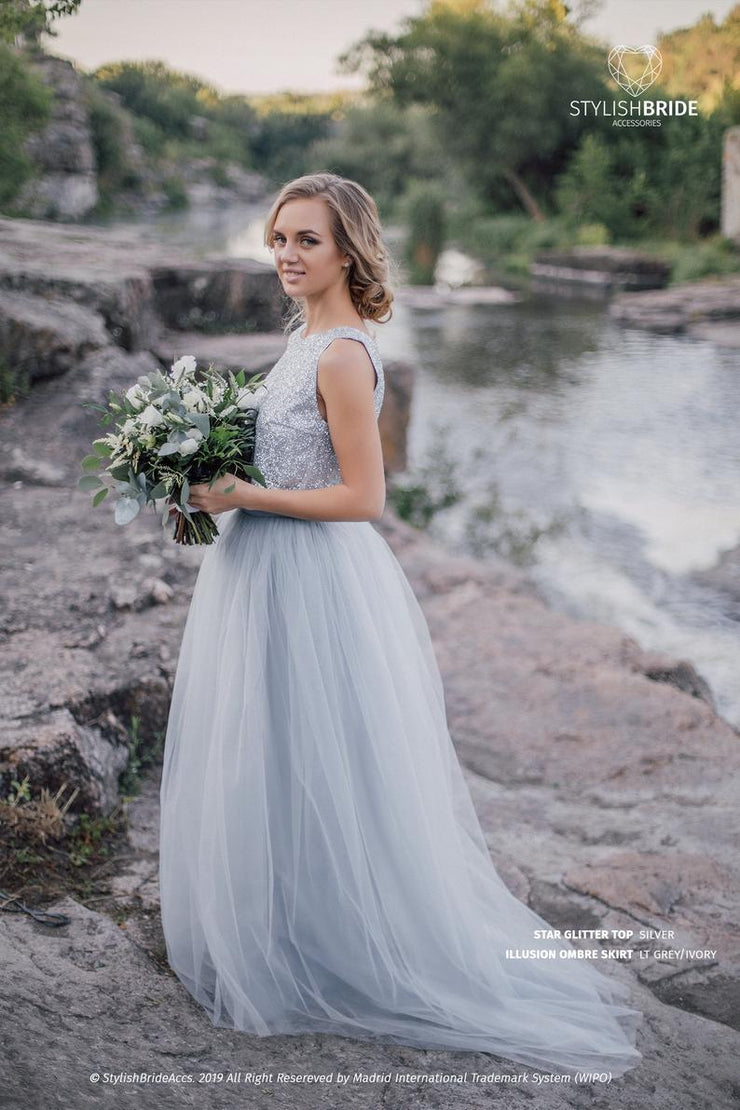 Bridal Grey Tulle Dress - Glitter Star Top & /Illusion/ OMBRE tulle skirt with train - Prom Glitter Tulle Dress Plus Size - StylishBrideAccs