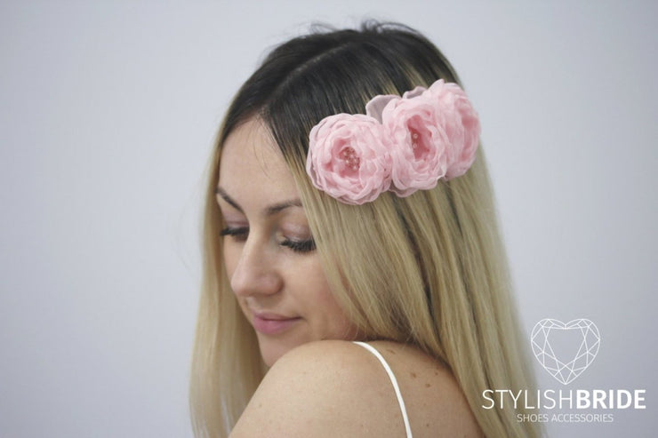 Bridal Hair Comb Pink flower , Wedding Pink flower Hair Comb, Hair Accessories, Pink flower Comb, Bridal Pink flower Hairpiece - StylishBrideAccs
