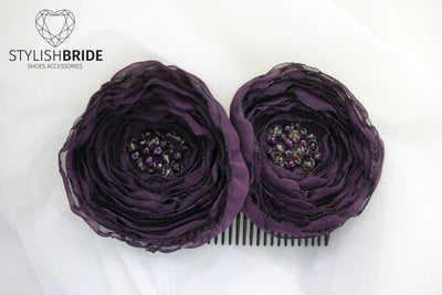 Bridal Hair Comb Purple Flowers, Wedding Purple flowers Hair Comb, Hair Purple Accessories, flower Comb, Bridal Purple flower Hairpiece - StylishBrideAccs