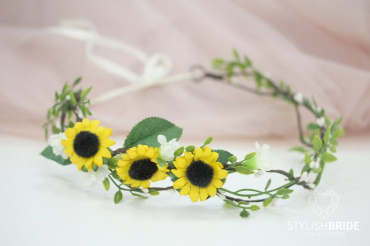 Bridal Hair Piece Sunflowers Crown, Flower Wedding Head band, Sunflowers Wedding Hairpiece, Flower Wedding Hair Vine Crown With Sunflowers - StylishBrideAccs