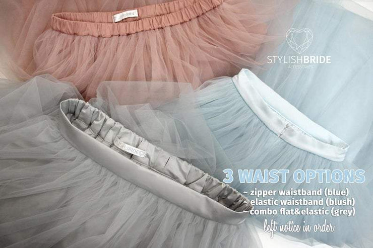 Bridal Tulle Skirt with Train - Fay Wedding Engagement Tulle Skirt available in Plus Sizes - StylishBrideAccs