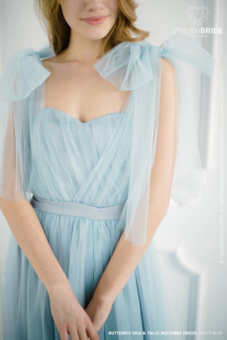 Butterfly | Dusty Blue Tulle & Silk Prom Dress - StylishBrideAccs