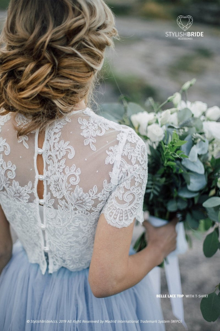 Buttoned back Wedding Lace Crop Top - Belle - White or Ivory Lace Engagement Tops plus size - StylishBrideAccs
