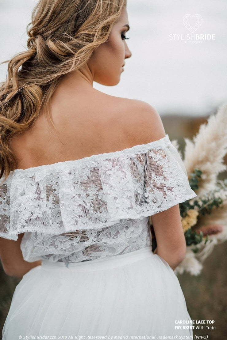 Carolina | Boho Lace Top Off-The-Shoulder - StylishBrideAccs
