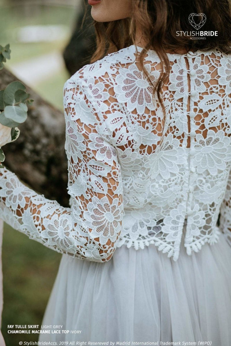 Chamomile | Lace Macrame Engagement Top - StylishBrideAccs