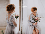 Chantilly bridal robe - Wedding Luxury Transparent lace dress / robe for bride - Bridal Tulle and Lace Lingerie - StylishBrideAccs